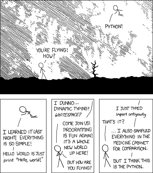 xkcd comic about Python: I wrote 20 short programs in Python yesterday. It was wonderful. Perl, I'm leaving you.